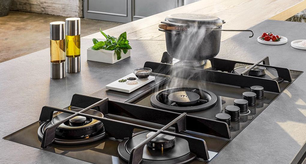 Placa de cocina a gas Elica NikolaTesla con aspiración filtrante