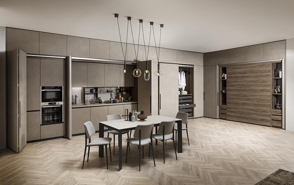 - Sistema Box Life de Scavolini que auna en un solo espacio salón, cocina y habitación.